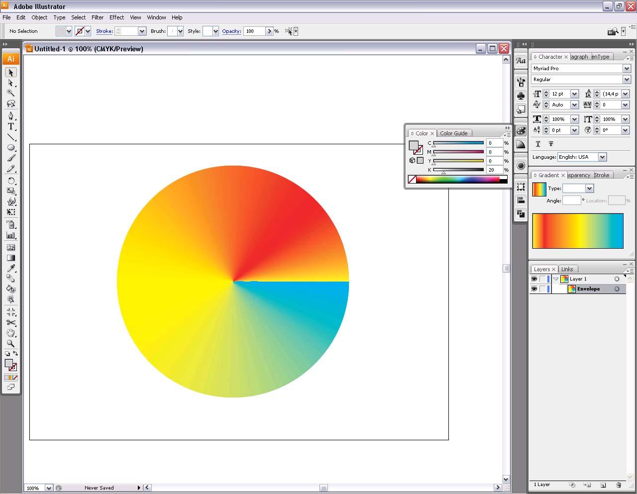 Как сделать радиальный градиент в иллюстраторе